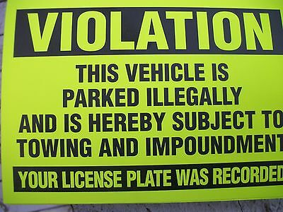 50 Yellow Violation Parked illegally Towing Warning Impound No Parking Stickers