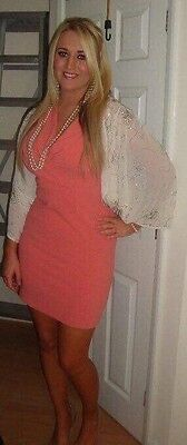 Miss Selfridge SMART DRESS Size 12, Stretchy, Peachy/Coral - Worn Once!