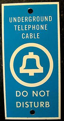 Antique Bell System Telephone Underground Cable 'Do Not Disturb' Metal Sign