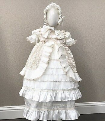New Baby Girl Christening Baptism Gown Dress Ropones Beige or White available
