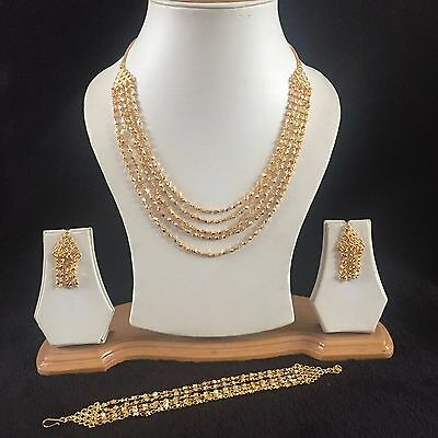 Gold Replica Indian Costume Jewellery Necklace Earrings Bracelet Set Bridal New