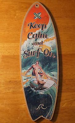 KEEP CALM & SURF ON SURFBOARD SIGN Tropical Beach Surfer Surfing Home Decor NEW