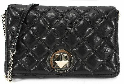 KATE SPADE Black Quilted Leather Chain Link Shoulder Bag Large Clutch