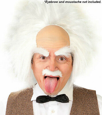 White Afro Wig Mustache Cosplay Mad Scientist Halloween Party Fancy Dress HM-368