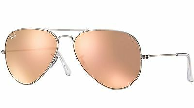 Ray-Ban Women's Copper Pink Flash Aviator Sunglasses Silver Rb3025 019/z2