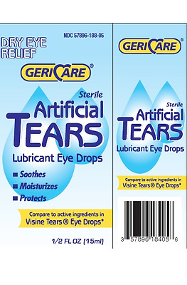 Gericare Sterile Artificial Tears Lubricant Eye Drops 15ml Soothes Moisturizes