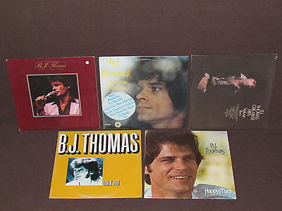 B.J. THOMAS 5 LP RECORD ALBUMS LOT COLLECTION BJ Happy Man/Lovin' You/Hits/Sings