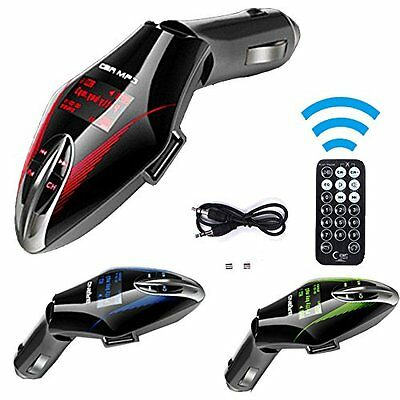 Car Kit MP3 Player Wireless FM Transmitter Modulator USB SD MMC Slot Red LCD