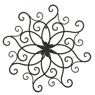 Black Brown Scroll Fleur Iron Metal Wall Art 55cm | Victorian Hanging Sculpture