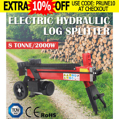 8Ton Electric Log Splitter Hydraulic Wood Timber Firewood Block Cutter Axe Power