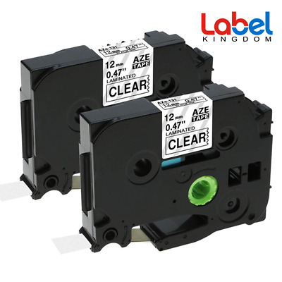 2 TZe131 Black on Clear Label Tape Compatible for Brother P-touch tze tape 12mm