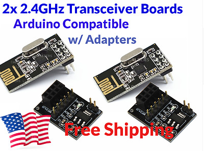 2Pcs NRF24L01 NRF2401 NRF24 2.4GHz Transceiver For Arduino w Breakout Adapters