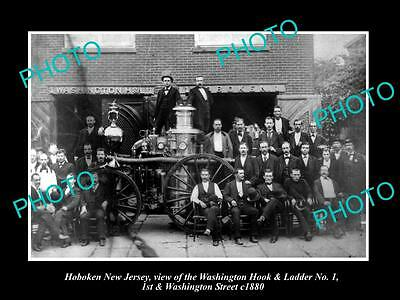OLD LARGE HISTORIC PHOTO OF HOBOKEN NEW JERSEY, THE WASHINGTON FIRE CREW c1880
