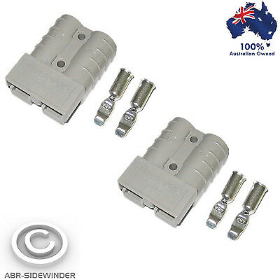 2X Anderson Plugs 50 Amp 'grey' Matched Pair Heavy Duty