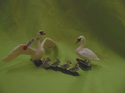 Schleich Swan Male/Female and Cygnets/Babies Retired Bird Figure w/Tags