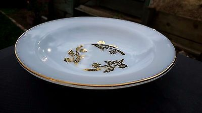 "Federal Glass Golden Glory Milk White Rim Soup Bowl 8"" Across"