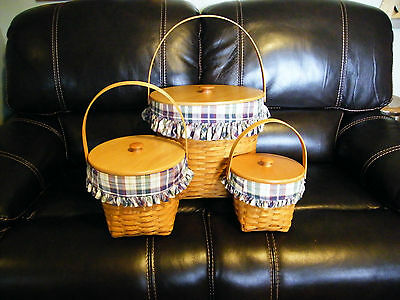 Longaberger Measuring Baskets Set of 3 With Woven Traditions Liners