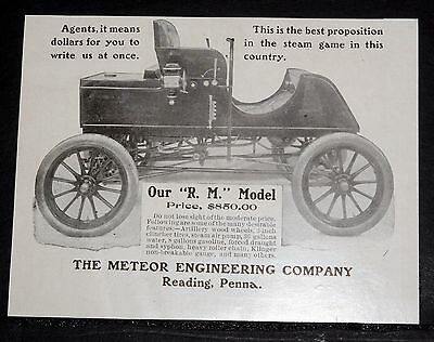 1903 Old Magazine Print Ad, Meteor Engineering, R..m. Model Steam (Car) $850.00!