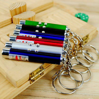 2 In1 LED Light Red Laser Pointer Pen Keychain Cat Toy 1Pc