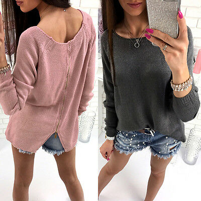 AU Stock Womens Loose Knitted Sweater Winter Warm Jumper Pullover Knitwear Tops