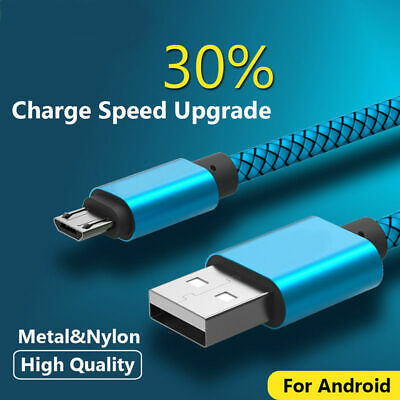 2/3M 3/10FT Metal Strong Braided Over 2A Quick Charger Micro USB Data Sync Cable