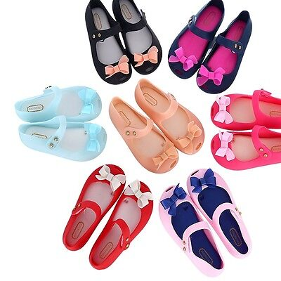 Mini Melissa Bowknot Fish Mouth Shoes Princess Girl Jelly Sandals  US Size 6-11
