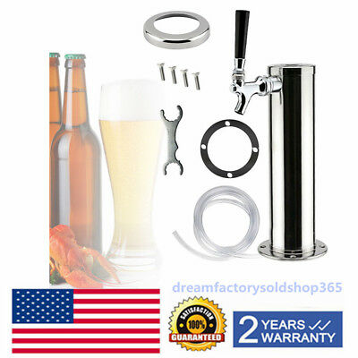 Single Tap Draft Beer Tower Stainless Steel Homebrew Kegerator Chrome Faucets US