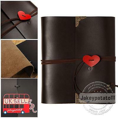 "Leather Photo Album 6x4"" large vintage 120 Pictures Self-Adhesive Scrapbook note"