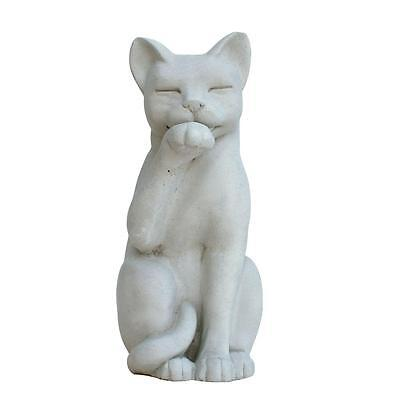 Cat Garden Statue English Statuary Frost Proof Cast Stone Antique Gray Finish