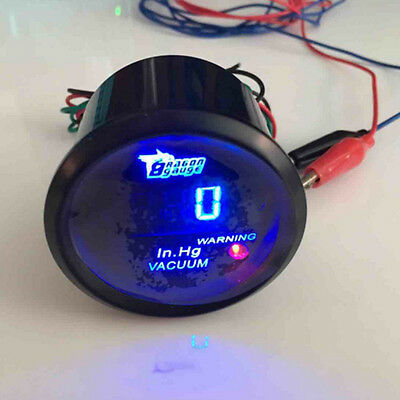 "2"" 52mm Black Car Motor Digital Blue LED Vacuum LED Gauge Meter"