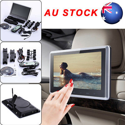 "10""HDMI Slim Headrest Monitor HD Digital Car DVD Player Portable IR/FM USB/SD AU"