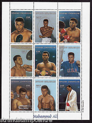 "Muhammad Ali ""The Champ"" Plate Block of 9 Stamp Sheet from Centrafricaine"