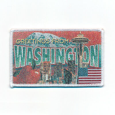 90 x 58 mm Washington Retro Nostalgie Patch USA Edel Aufnäher Aufbügler 0741 B