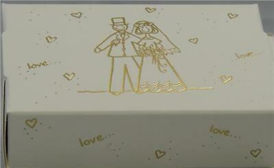 8 Cream And Gold Bride Groom Wedding Favour Cake Party Boxes No Glue Required