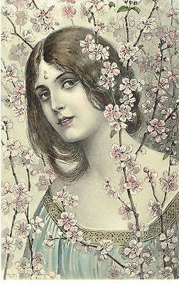 Tuck Art Nouveau Artist Signed Old Postcard Glamour Woman Surrounded By Blossom