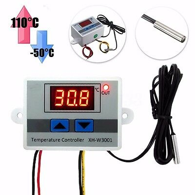 220V Digital LED Temperature Controller 10A Thermostat Control Switch Probe US