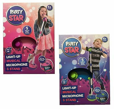 Party Star Kids Childrens Light Up Musical Microphone & Stand Pink / Blue