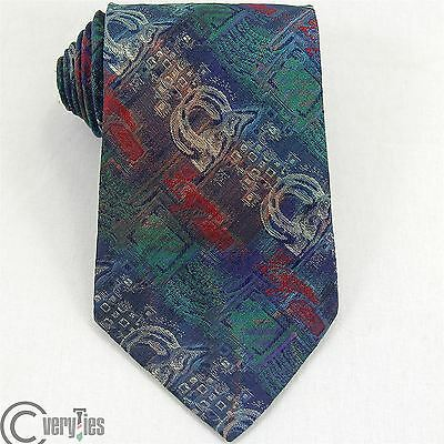 Cravatta VICTORIA AVENUE Blu Verde Jacquard Poliestere Made in Italy Tie Fashion