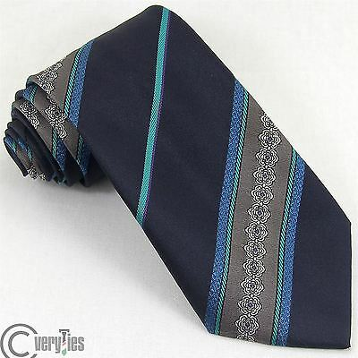 Cravatta Classica LORD VINTAGE 1970s 70 Blu Righe Poliestere Made in Italy Tie