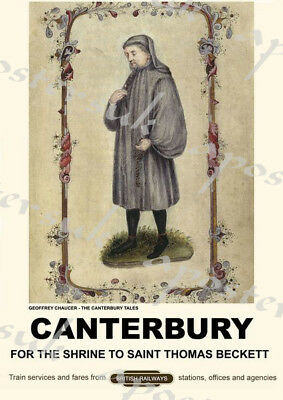 Vintage Style Railway Poster Canterbury Tales A4/A3/A2 Print