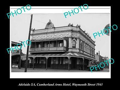 OLD LARGE HISTORICAL PHOTO OF ADELAIDE SA,CUMBERLAND ARMS HOTEL WEYMOUTH St 1940
