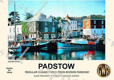 Vintage Style Railway Poster Padstow Cornwall A4/A3/A2 Print