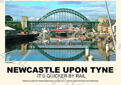 Vintage Style Railway Poster Newcastle Upon Tyne A4/A3/A2 Print