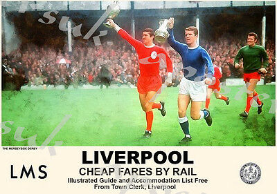 Vintage Style Railway Poster Liverpool Football Derby A4/A3/A2 Print