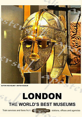 Vintage Style Railway Poster London British Museum A4/A3/A2 Print