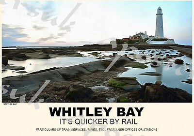Vintage Style Railway Poster Whitley Bay A4/A3/A2 Print