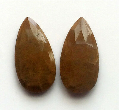 2 Pcs Brown Agate Faceted Drops, Agate Earrings, Agate Jewelry, Agate Cabochons