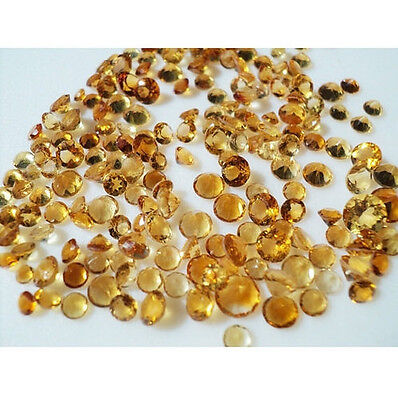 48-50 Pcs Citrine Cabochons, Faceted Cabochons, Calibrated Citrine, 3mm Each