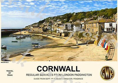 Vintage Style Railway Poster Mousehole Cornwall A4/A3/A2 Print