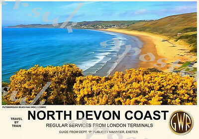 Vintage Style Railway Poster Woolacombe North Devon A4/A3/A2 Print